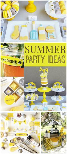 Here's a fantastic yellow and gray summer BBQ party! See more party ideas at CatchMyParty.com!