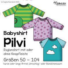 Näähglück Onlineshop - eBook Pilvi - Raglanshirt mit Tasche und Knopfleiste Größe 50 - 104
