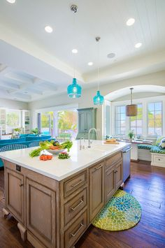 Manhattan Beach House Decorated with Blues - single level kitchen island w sink