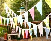 Long Flag Pennant Banner, Wedding Decor, Photo Prop, 40 feet, Cotton Fabrics in a Mix of Pastel and Bright Prints.