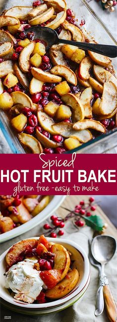 Easy Spiced Hot Fruit Bake! A delicious and healthy holiday breakfast bake! This gluten free spiced hot fruit bake also makes for a great topping for waffles, pancakes, oatmeal, or simply by itself! A nutritious dish to add to your Christmas or New Year's