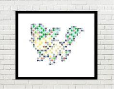 leafeon art, leafeon pokemon, leafeon print, pokemon print, game art, video game, eevee, eevee evolution, pokemon poster, pokemon art, pixel art, leafeon pixel art by PixelDesignsUP