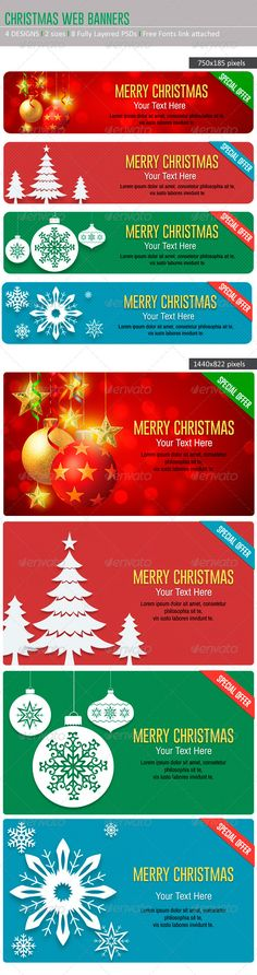 Christmas Web Banners — Photoshop PSD #christmas #christmas web banner • Available here → https://graphicriver.net/item/christmas-web-banners/6057753?ref=pxcr