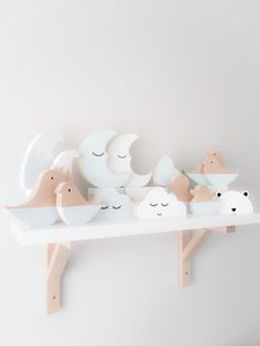 These assorted scandi shapes are the perfect addition to any shelf display. They… These assorted scandi shapes are the perfect addition to any shelf display. They are handmade in Australia from pine. Finished in a combination of … Baby Decor, Kids Decor, Nursery Decor, Bedroom Decor, Teen Bedroom, Pastel Decor, Bebe Love, Regal Display, Scandinavian Kids
