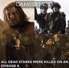 Episode 9 is not kind to House Stark. Game of Thrones facts. ASOIAF Episode 9 is not kind to House Stark. Game of Thrones facts. Game Of Thrones Facts, Got Game Of Thrones, Game Of Thrones Quotes, Game Of Thrones Funny, Game Of Thrones Images, Sansa Stark, Winter Is Here, Winter Is Coming, Series Movies
