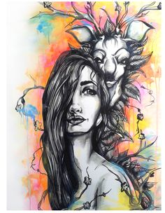 The deer and the girl  Acrylic∞Ink on canvas   2011   Paola Delfin