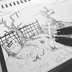 Drawing Doodles Sketchbooks Whats going on here? Stay posted to find out! Sketchbook Drawings, Doodle Drawings, Drawing Sketches, Pencil Drawings, Sketching, Spooky Background, Background Drawing, Background Ideas, Zombie Drawings