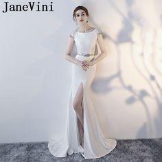 JaneVini Vestidos Sexy Mermaid Sequined Beaded Evening Dress Scoop Neck  High Split Satin Mother of The 2c6b8f19758a