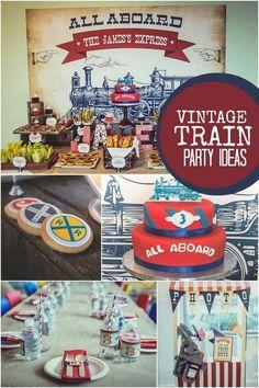 Boy's Vintage Train Birthday Party Ideas