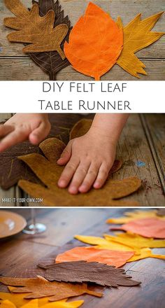 Kid-Made DIY Fall Felt Leaf Table Runner. Create a gorgeous Fall setting with this easy tutorial that gets kids involved in setting the table.