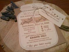 Mason Jar Wedding Invitation with RVSP Luggage Tag and Bakers Twine Bow and Kraft Envelope