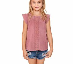 Girls Ruffled Sleeve Lace Top In 4 Color Selections