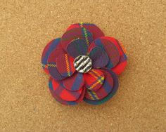 Pitcairn Tartan Fabric Flower Brooch by PitcairnTartanGifts on Etsy https://www.etsy.com/listing/220668715/pitcairn-tartan-fabric-flower-brooch
