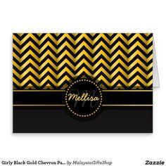 Girly Black Gold Chevron Pattern Monogram Greeting Card