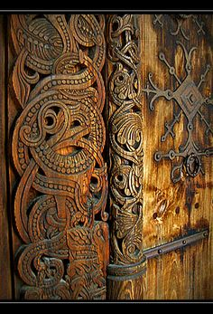 Viking Icelandic wood carving
