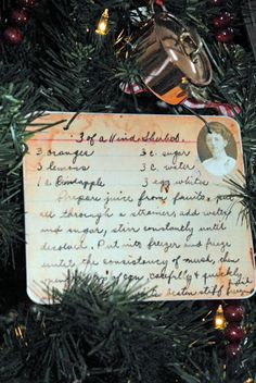 """INSPIRATION: heirloom recipe ornament (copy of recipe mod podged onto a 5x6 - 1/8"""" wood, the backside finished with scrapbook paper)"""