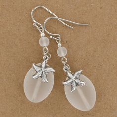 Sadie Green's White Sea Glass Starfish Earrings