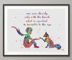 The Little Prince Quote Le Petit Prince with Fox Watercolor Painting Print Nursery Art