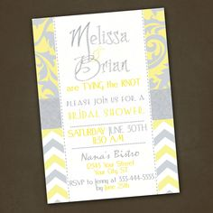 Yellow and Grey Bridal Shower Invitations by PinkSkyPrintables,