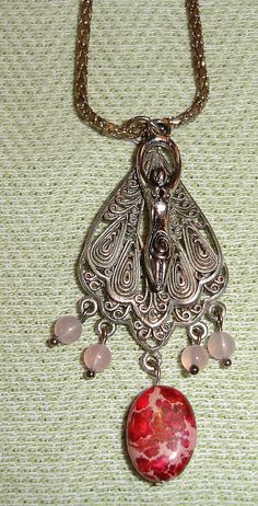 Handmade Silver Goddess Charm with Gemstones with Vintage Chain