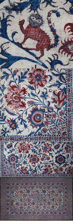 Antique Indian Textile. Probably Coromandel Coast Cotton Block Print 1800 - 1850 A.D