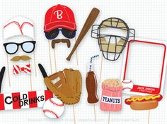Baseball Photo Booth Props, Sports Photobooth Props, Vintage Baseball Party, Home Run, Baseball Birthday, Sports Party, Sports Birthday Ball