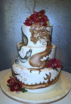 Dragon-Phoenix Wedding Cake--WOW! beautiful...not something I would consider, given ours is a beach wedding..but still amazing!