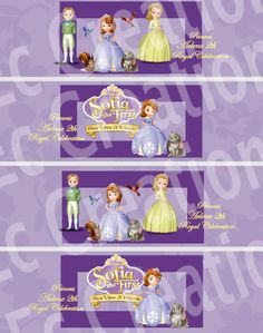 Sofia the First water bottle label  Digital file. $3.00, via Etsy.