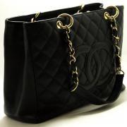 "Chanel Caviar Gst 13"" Grand Shopping Tote Bag Chain Shoulder Blac"