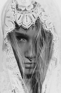 Mysterious gypsy girl in black and white.