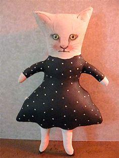 Cat art doll- white kitty- original- fiber art - ooak art doll- meow- dressed up…