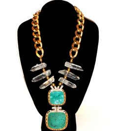 1960s Gilt Chain, Malachite and Crystal   Pendant, and Rock Crystal Points: $935.00