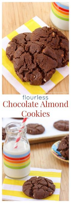 Flourless Chocolate Almond Cookies - rich, chocolaty cookies with nutty crunch. Plus naturally gluten free and dairy free. The kids will love these as a snack!   cupcakesandkalechips.com