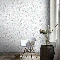 Graham & Brown Karma White/ Teal Wallpaper, Blue