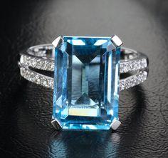 10x14mm Emerald Cut Blue Topaz .18ctw Diamonds 14K White Gold Engagement Ring via Etsy