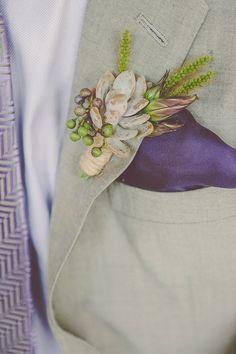 boutonniere (Florist: Love n' Fresh Flowers) - Purple Wedding at Philadelphia Horticultural Center by Sarah Kudlack of Juniper & Dash (Wedding Planner and Event Design) + Sharyn Frenkel Photography - via ruffled