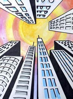 dit is een tekening die vanaf een kikvorsperspectief is gemaakt dit zorgt ervoor dat de gebouwen groter lijken.