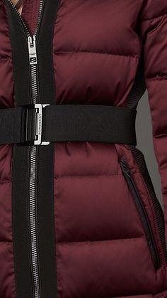 Deep claret Fur Trim Puffer Coat - Image 3