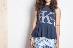 DIY peplum top from XL tee-shirt... maybe doing this to a band tee?
