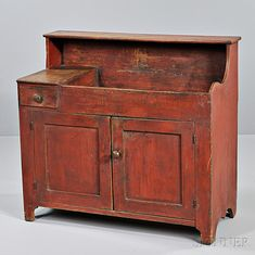 Red-painted Maple and Pine Dry-sink with Drawer, New England, early Country Bedroom Design, Shaker Furniture, Dry Sink, Colonial Furniture, Primitive Cabinets, Primitive Furniture, Country Furniture, Primitive Kitchen, Real Wood Furniture