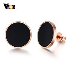 Black Circle Stud Earrings for Women Pink Gold Tone Stainless Steel aretes brincos Small Gold Hoops, Small Gold Hoop Earrings, Rose Gold Earrings, Crystal Earrings, Women's Earrings, Clean Gold Jewelry, Black Gold Jewelry, Diamond Studs, Black Diamond