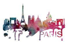Paris France Skyline Watercolor Art Print by DreamMachinePrints