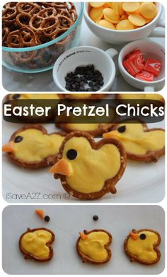 Easy Pretzel Chicks made with chocolate!  OH YES!!!  iSaveA2Z.com