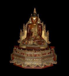 Seated Mandalay Buddha on altar Burma 19th c. Glass inlay
