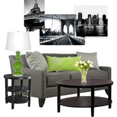 """Green and Grey Living Room"" by stefanie-williams on Polyvore"