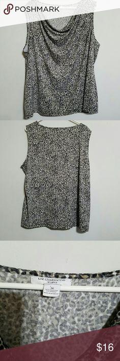 "3x Animal Print Tank Top Gray, black, cream and tan Leopard print Tank with draped neckline.  Measures lying flat  Bust 28"" Length 28"" Liz Claiborne Tops Tank Tops"