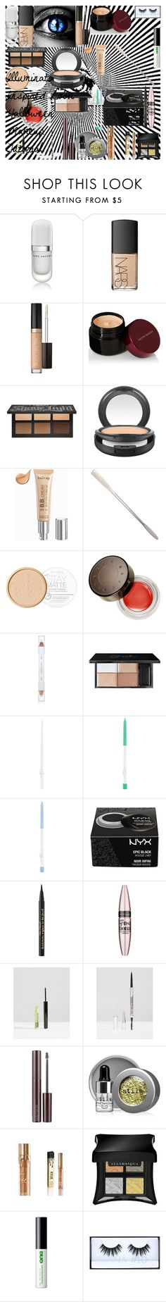 """Illuminati Inspired Look ♡ Halloween Makeup Tutorial"" by oroartye-1 on Polyvore featuring beauty, Marc Jacobs, NARS Cosmetics, Too Faced Cosmetics, Kevyn Aucoin, Kat Von D, MAC Cosmetics, Isadora, Rimmel and Becca"