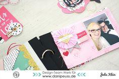 """Bastelanleitung Valentinstag Minialbum """"3 Jahre Du + Ich"""" von Julia Klein für www.danipeuss.de mit Crate Paper """"Hello, Love"""" #scrapbooking #tutorial #diy #cratepaper #danipeuss"""
