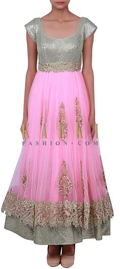 Buy Online from the link below. We ship worldwide (Free Shipping over US$100) http://www.kalkifashion.com/pink-lehenga-adorn-in-sequin-and-zari-embroidery-only-on-kalki.html