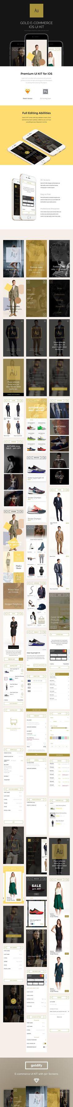 Goldify e-Commerce iOS UI Kit. UI Elements